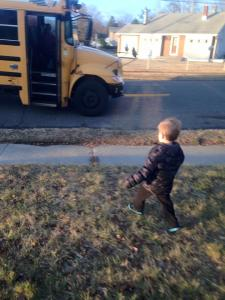 Jackson gettin' on the bus on his first day at preschool.